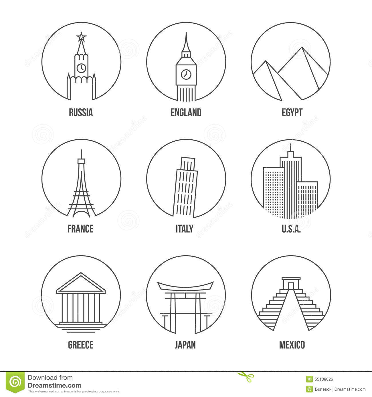 World Landmark Line Art Icons Set Stock Vector