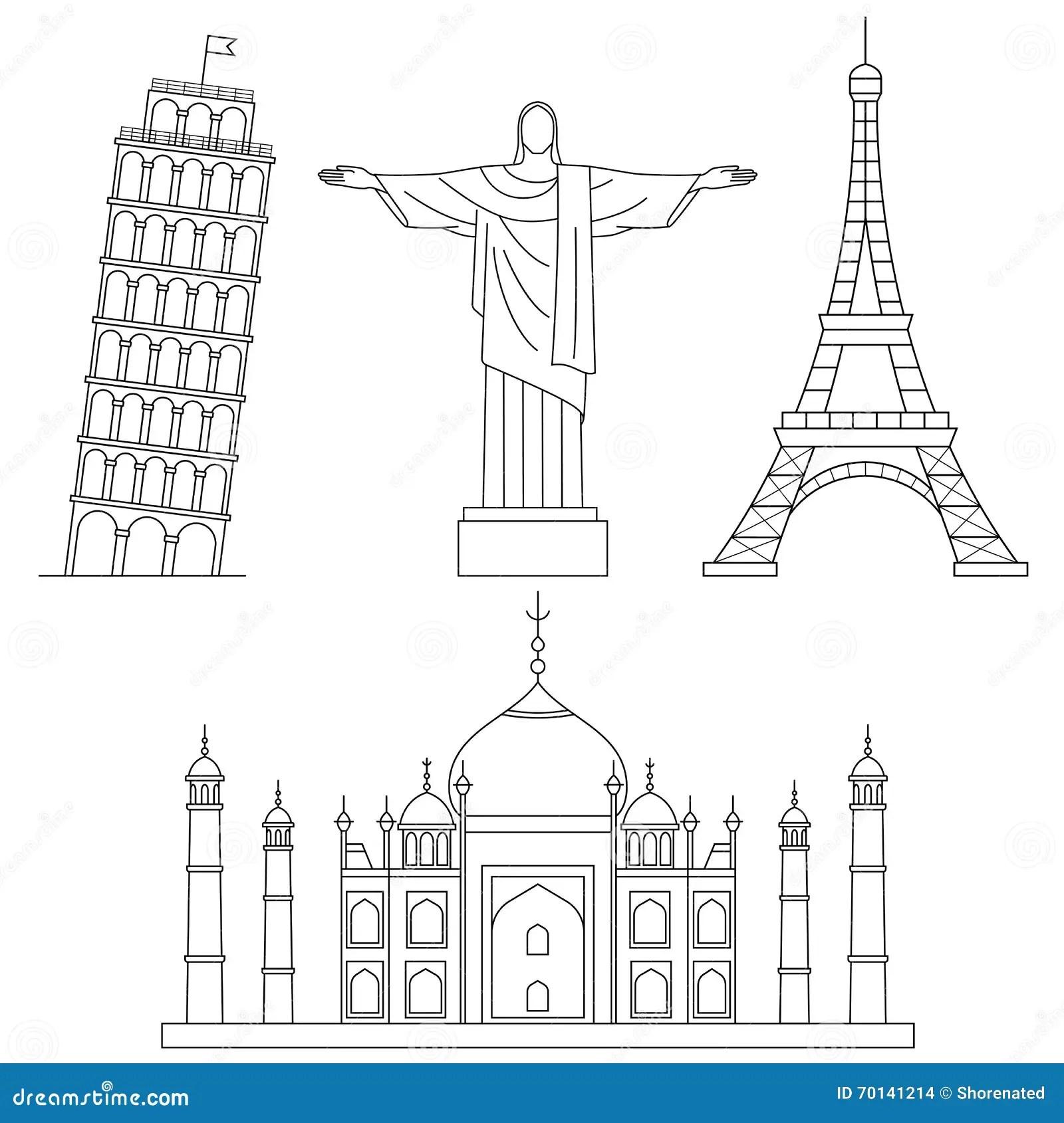 World Landmarks Stock Vector Illustration Of Journey