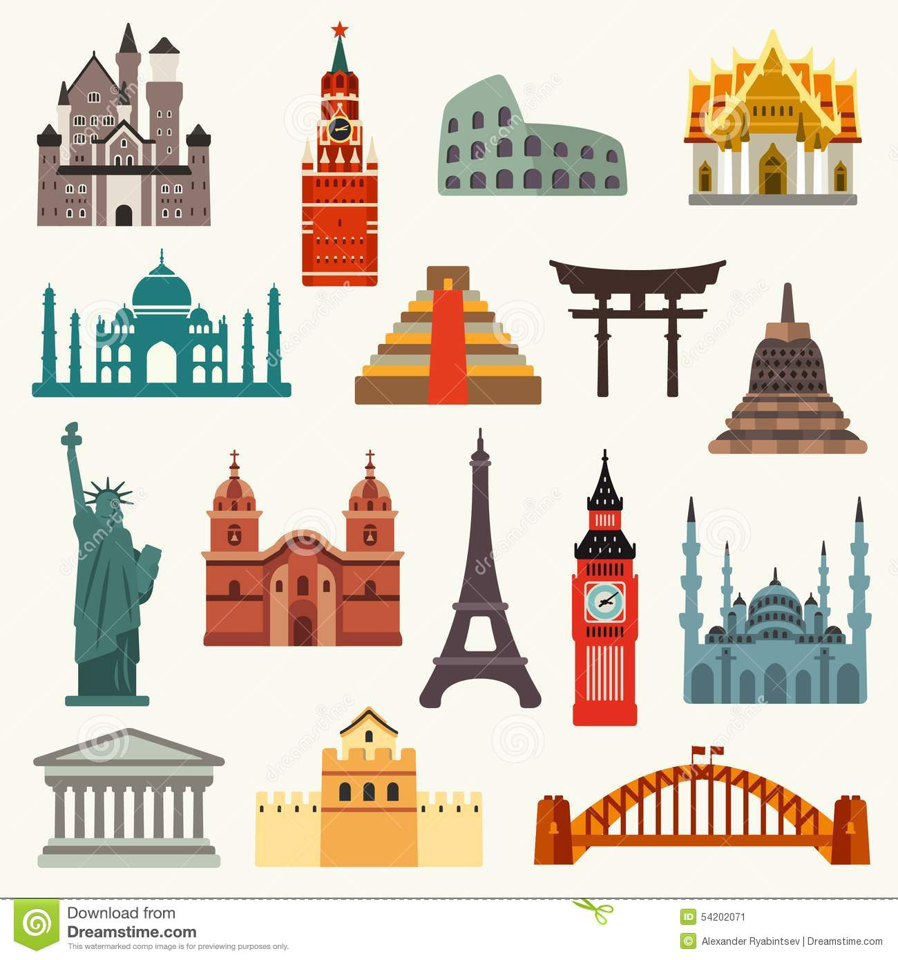 World Landmarks Icons Stock Vector Illustration Of Asia