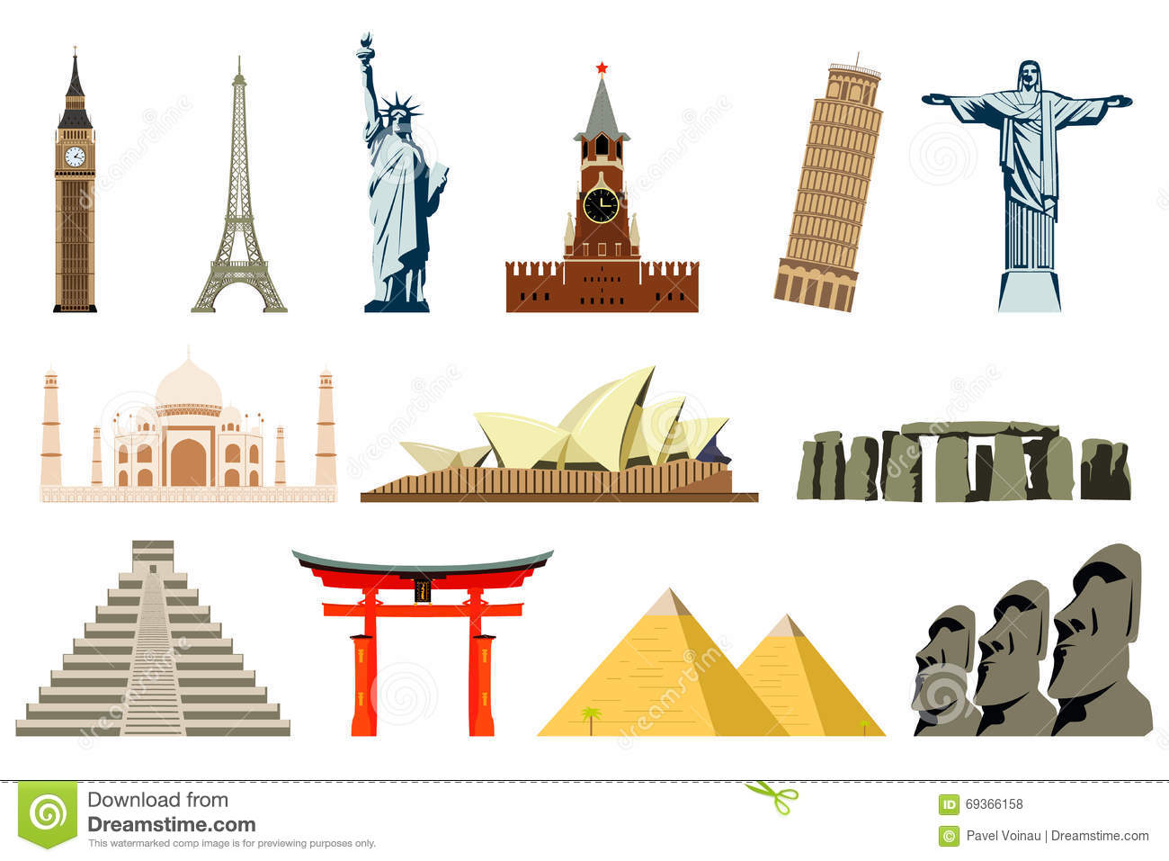 World Landmarks Vector Stock Vector