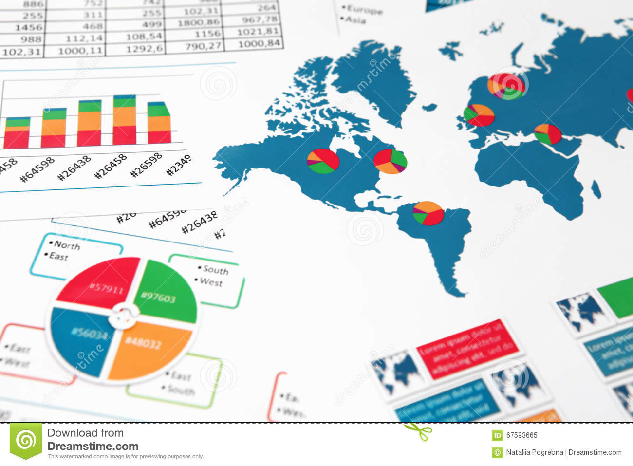 World Map With Charts Graphs And Diagrams Stock Image