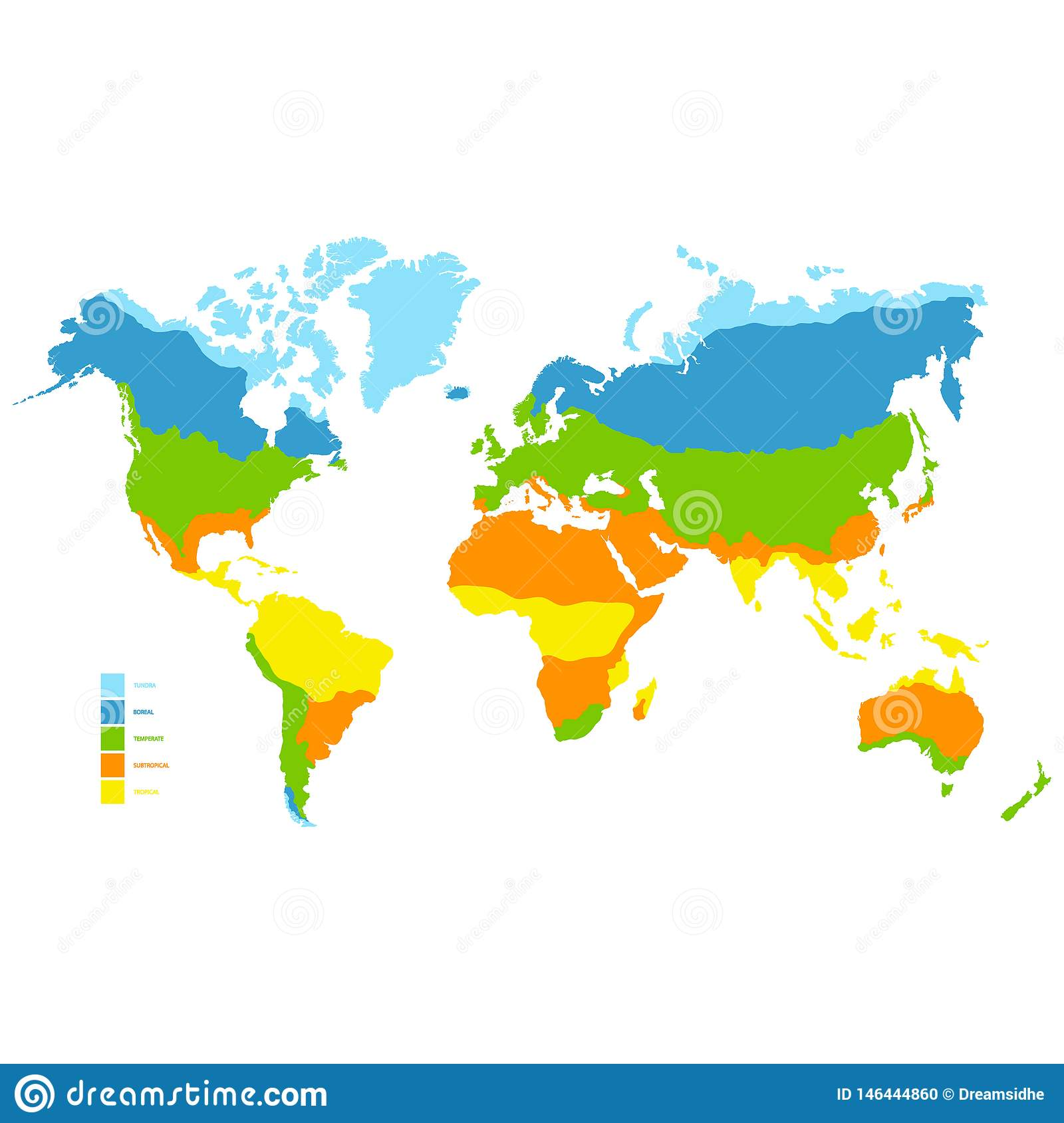 World Map With Climate Zone Stock Vector