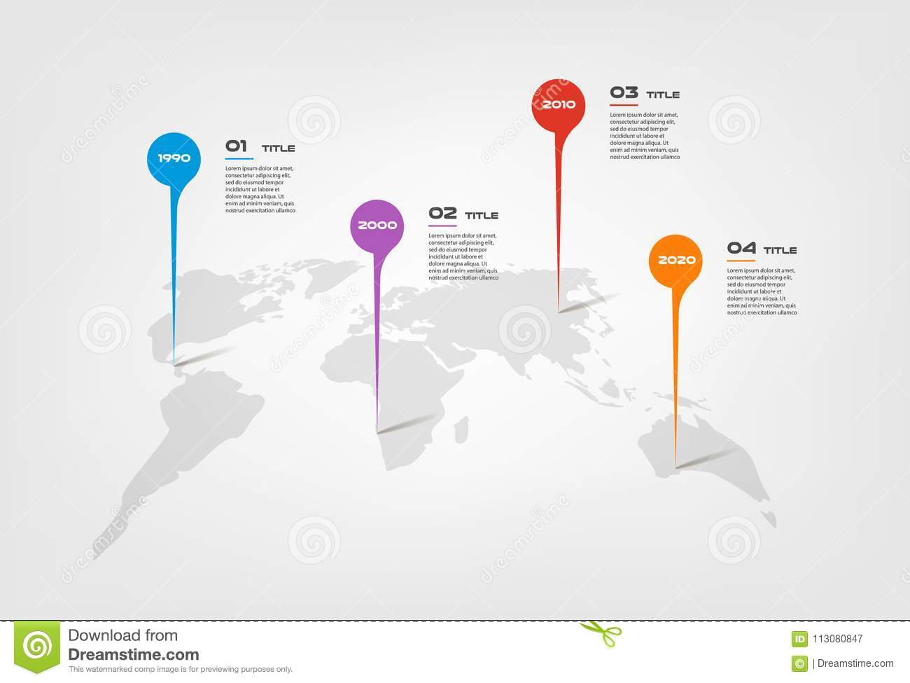 World Map Color Infographics Step By Step In A Series Of