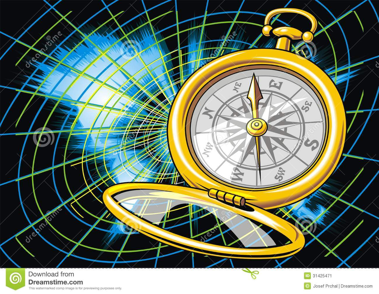 World Map And Compass Stock Vector Illustration Of