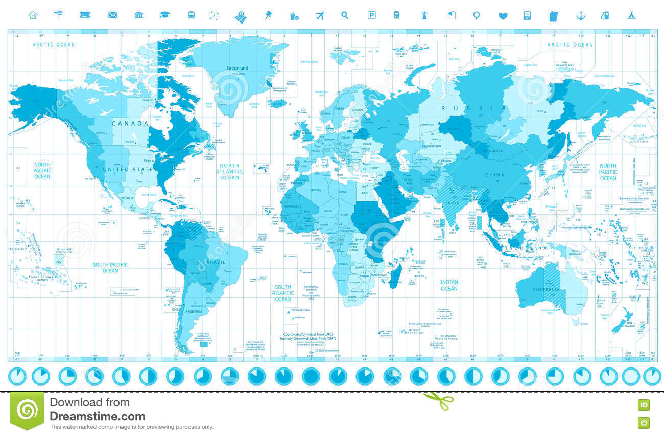 World Map With Standard Time Zones Soft Tints Of Blue And