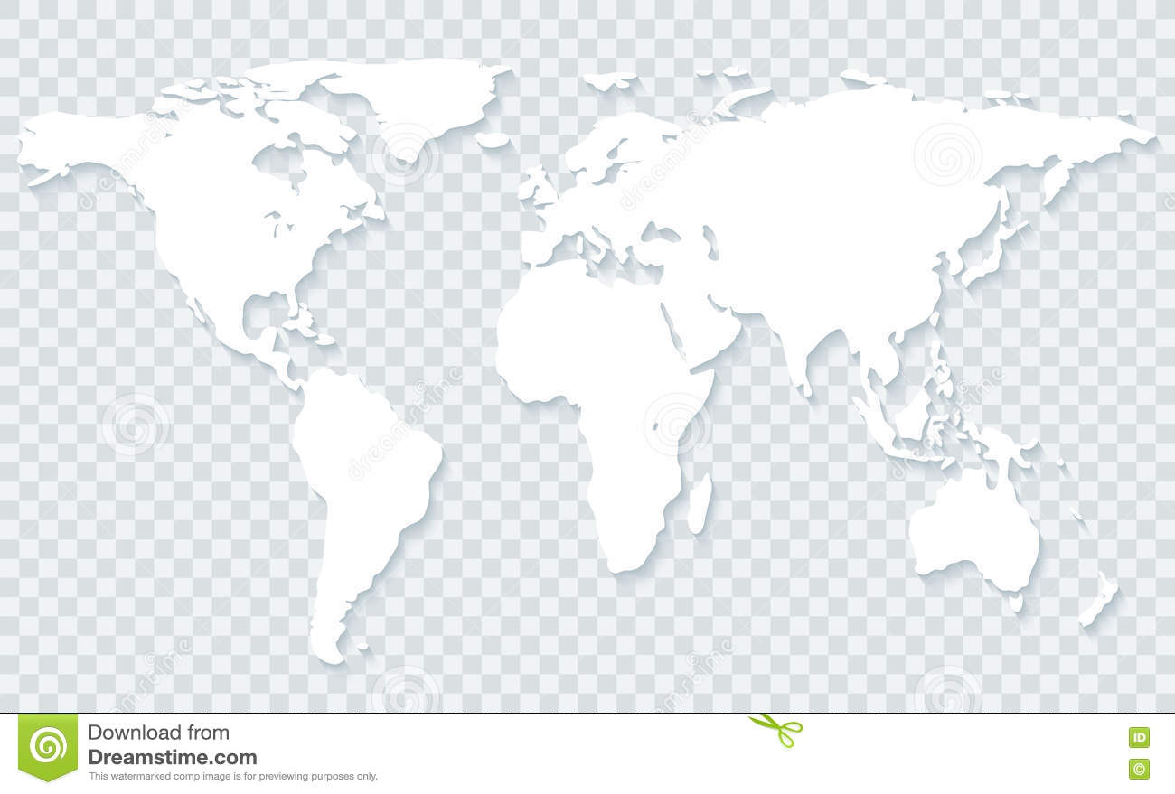 World Map On Transparent Background Stock Photo
