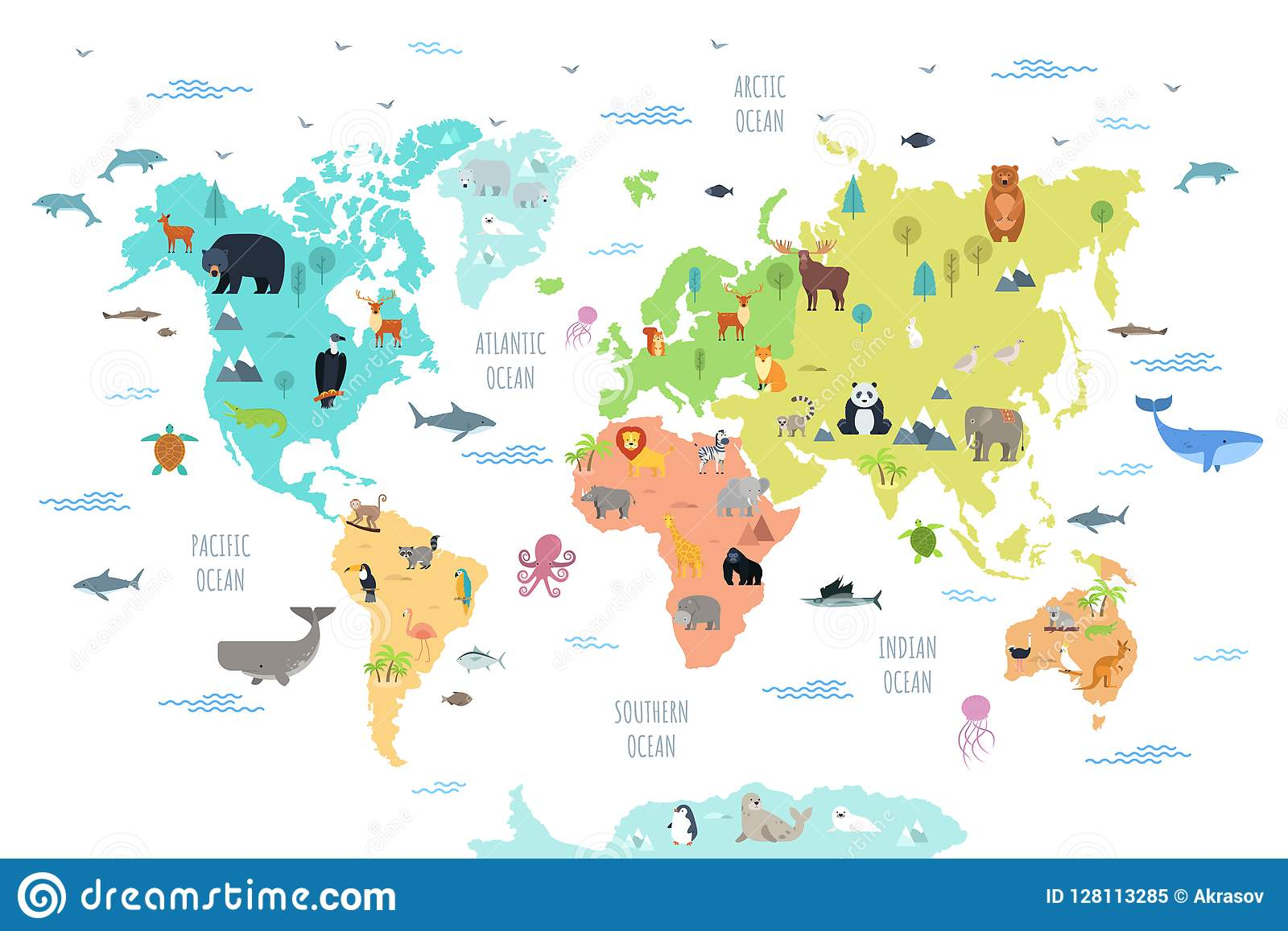 World Map With Wild Animals Living On Various Continents