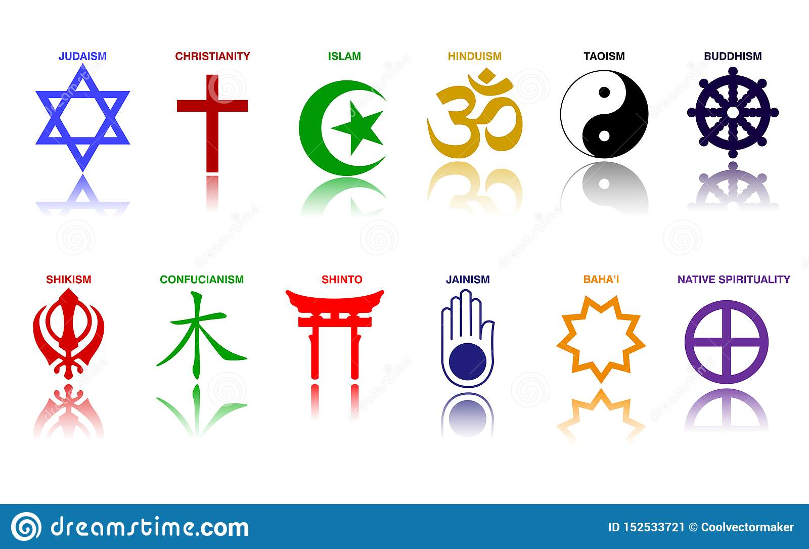 World Religion Symbols Colored Signs Of Major Religious