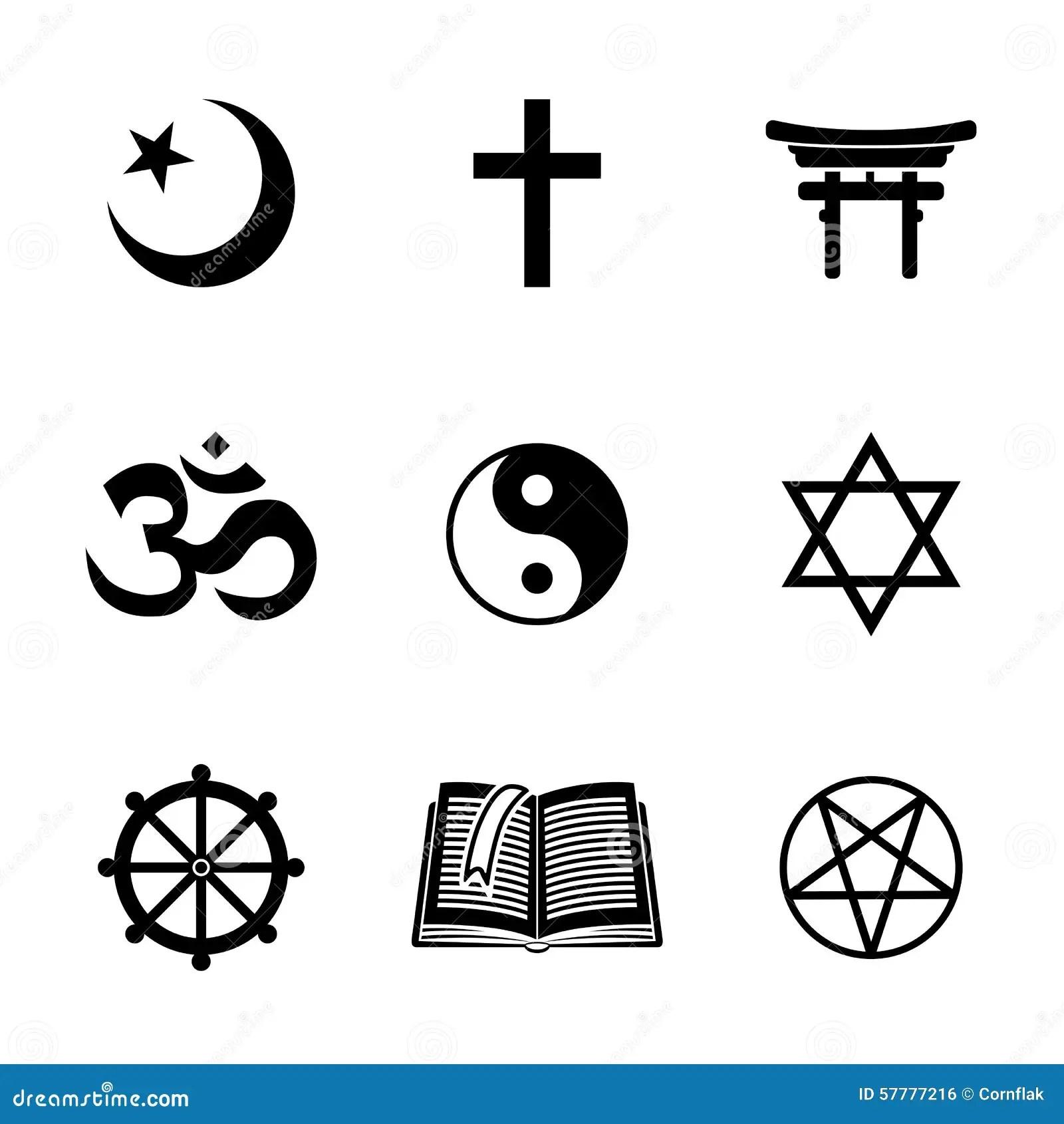 World Religion Symbols Set With