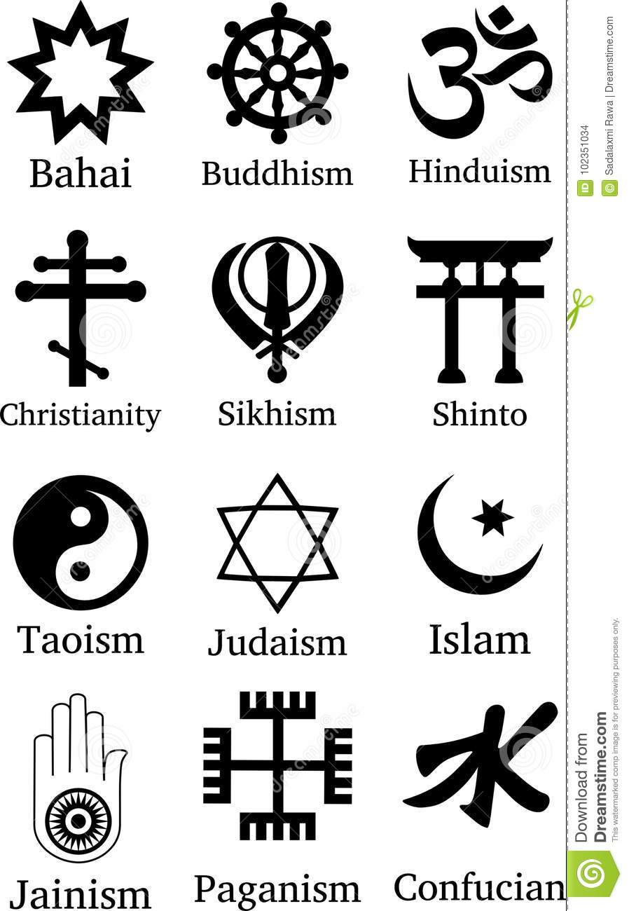 World Religion Symbols stock photo. Illustration of