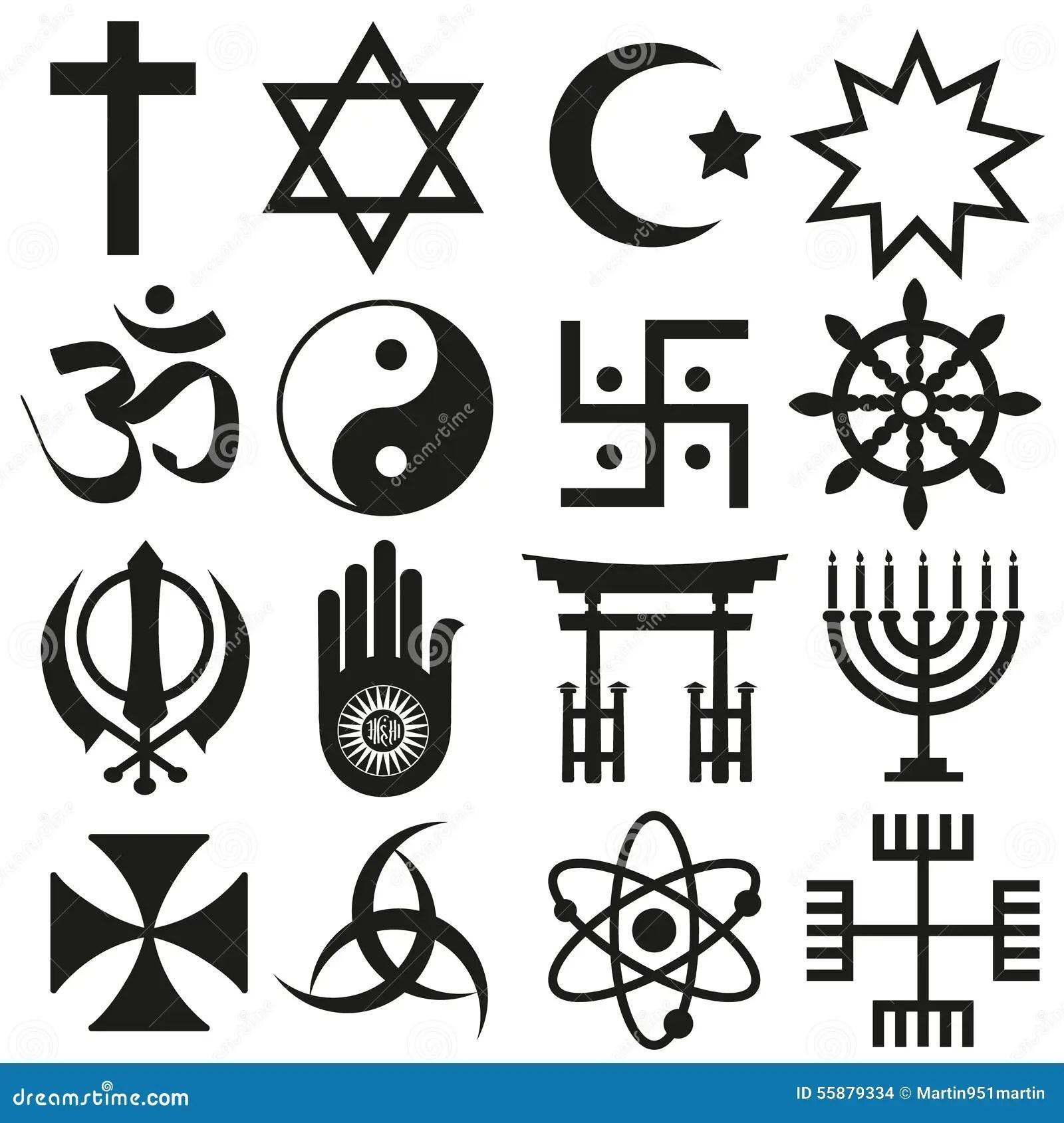 World Religions Symbols Vector Set Of Icons Eps10 Stock