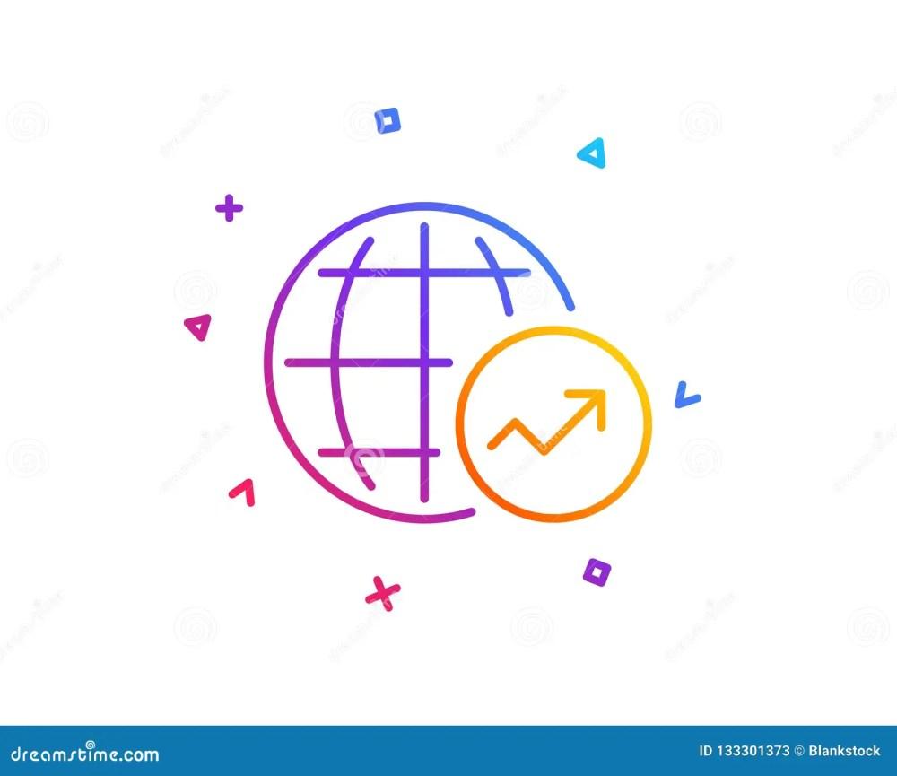 medium resolution of world statistics line icon chart sign vector