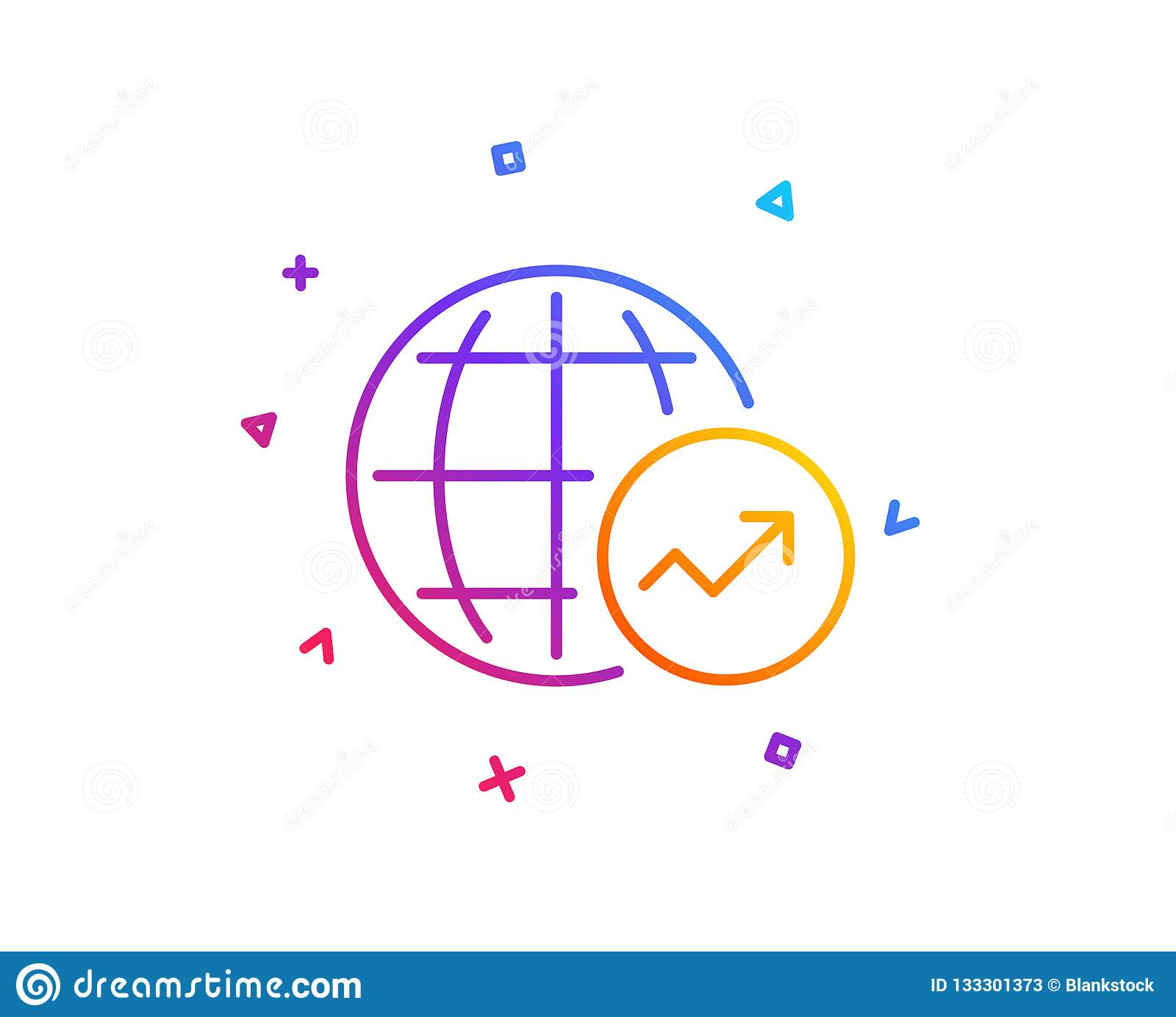 hight resolution of world statistics line icon chart sign vector