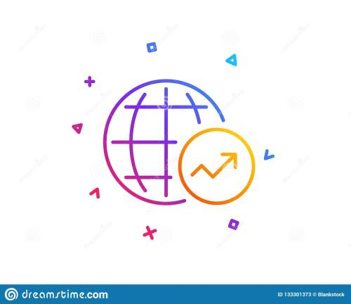 small resolution of world statistics line icon chart sign vector