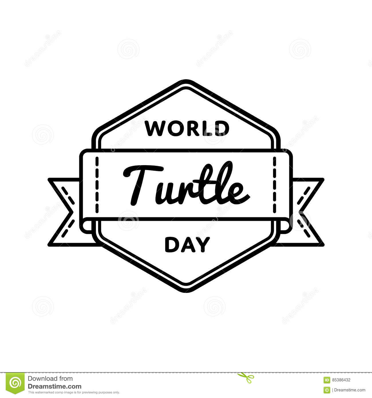 hight resolution of world turtle day greeting emblem