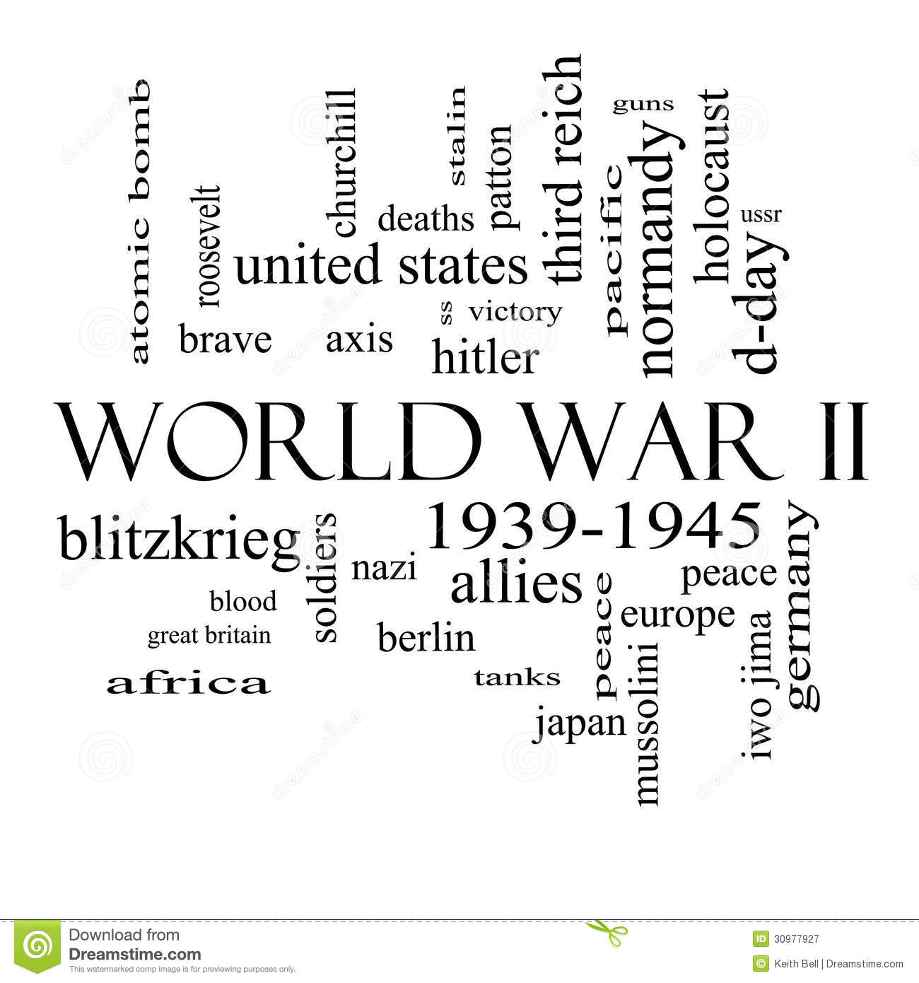 World War II Word Cloud Concept In Black And White Stock