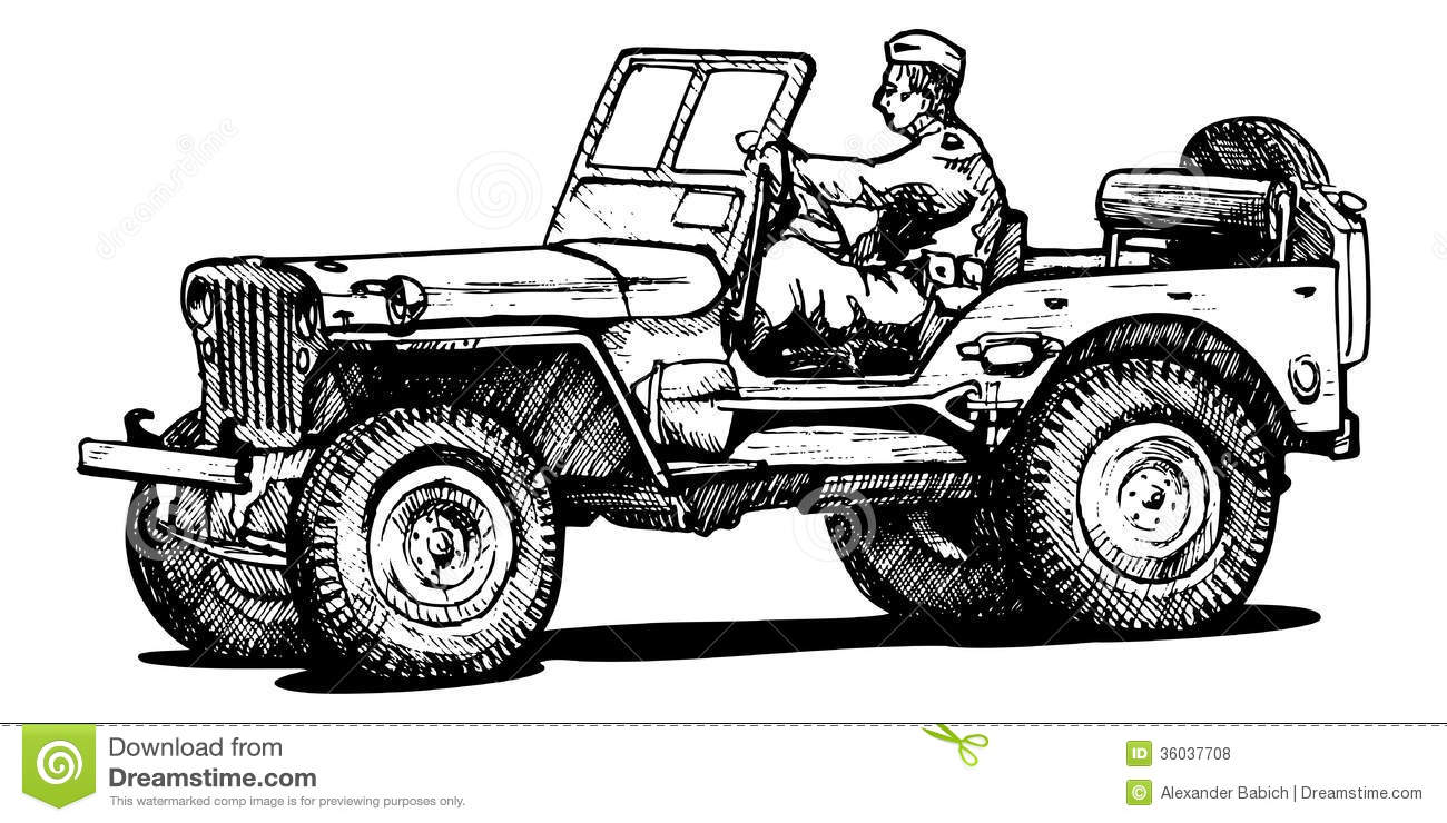 World war two army jeep. stock vector. Illustration of
