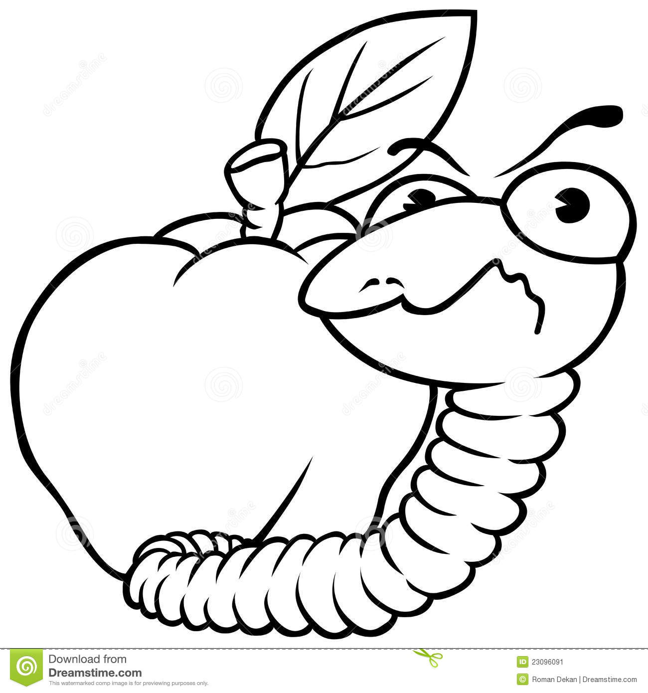 Worm And Apple Stock Vector Illustration Of Insect Clip