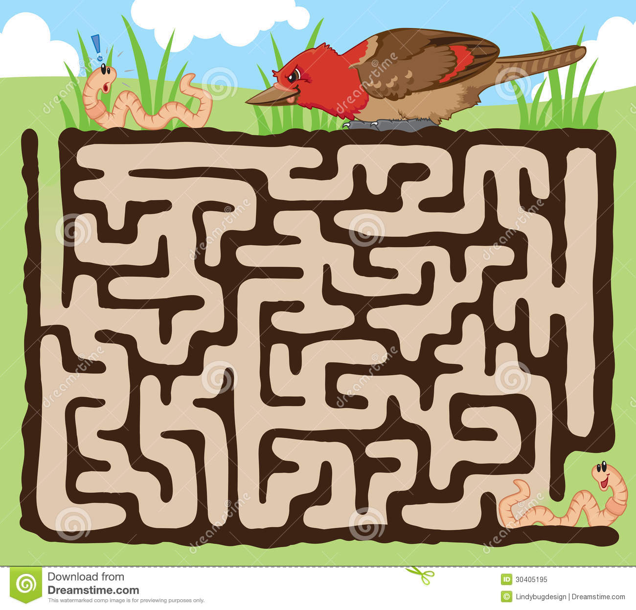 Worm And Bird Maze Game Royalty Free Stock Photo