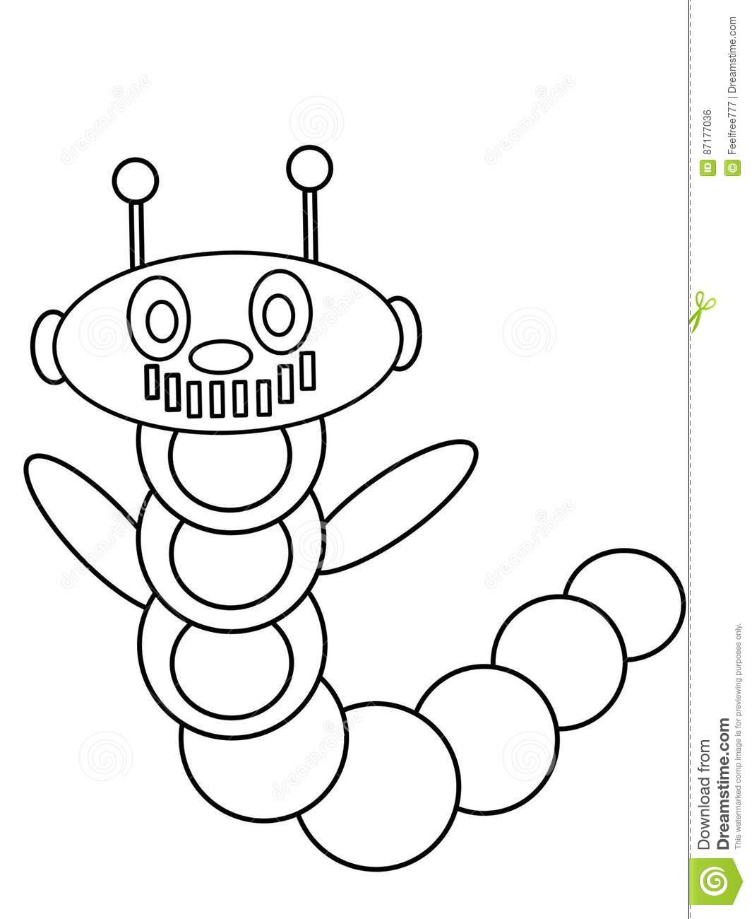 Worm Robot High Quality Kids Coloring Pages Stock Vector
