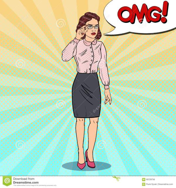Worried Business Woman In Eyeglasses Pop Art Illustration