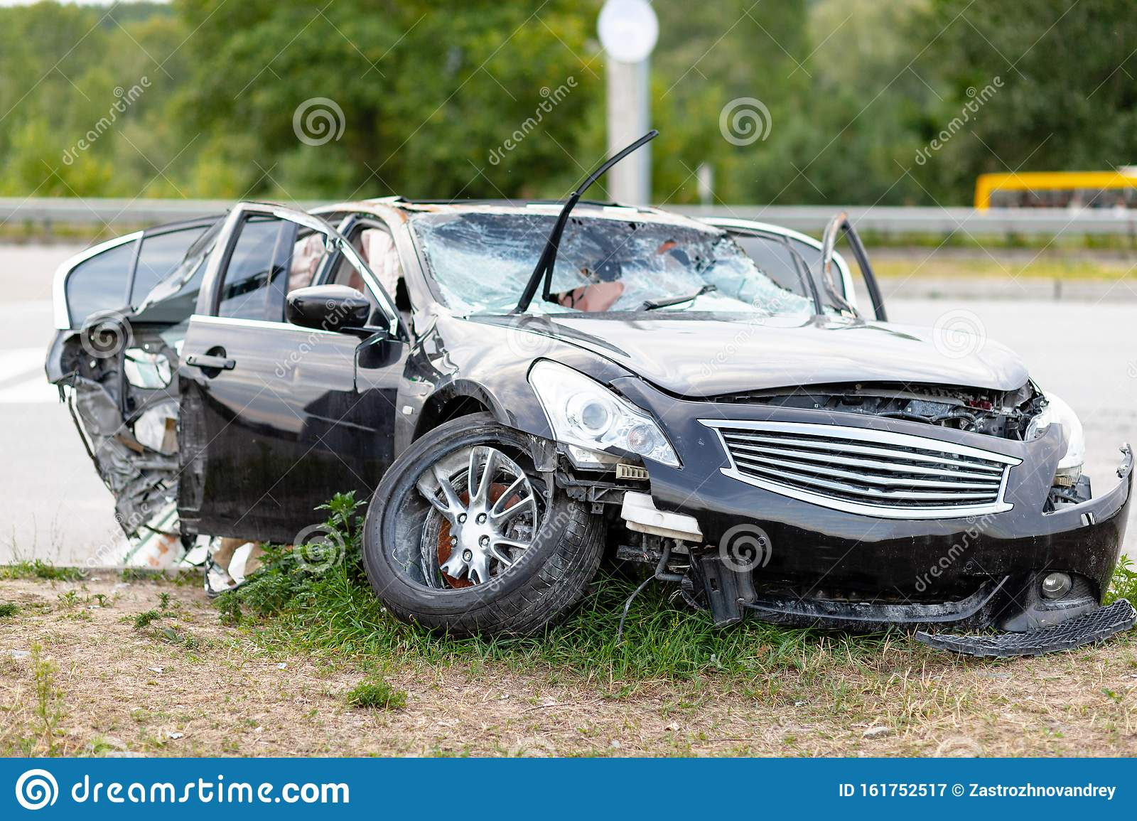Wrecked Car On Side Of Highway Safety On Road Accident Or Crash Stock Image Image Of Deformation Detail 161752517