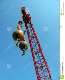 Wrecking Balls With Red Crane Stock - Of