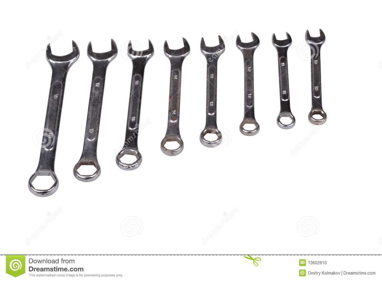 Set Of Wrenchs Chrome Metal Spanner Instruments On Wooden
