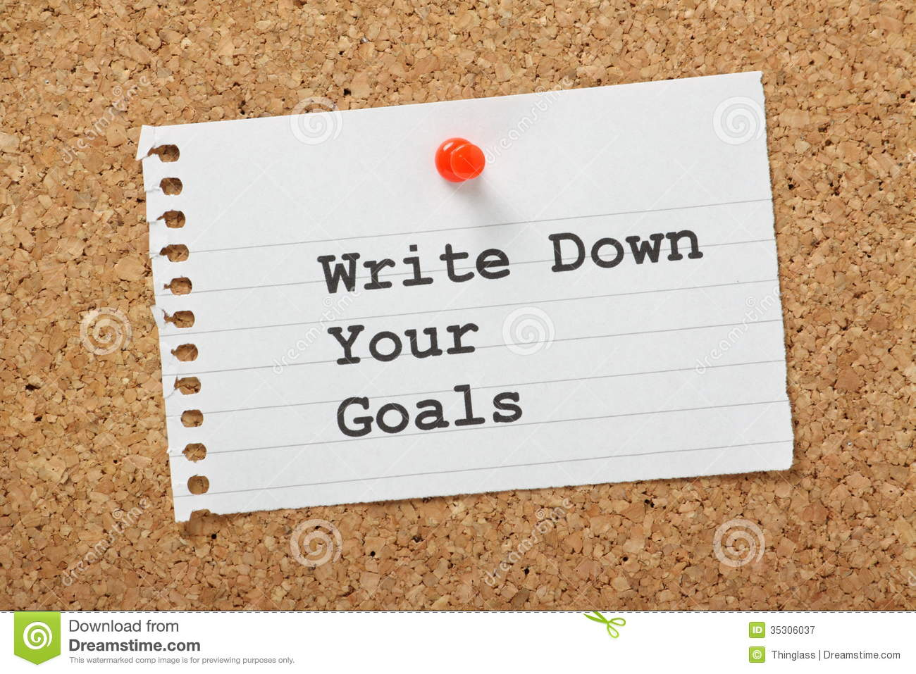 Write Down Your Goals Stock Image Image Of Dreams