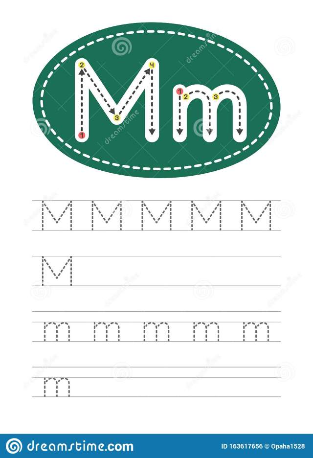 Write a letter M and m stock vector. Illustration of cartoon