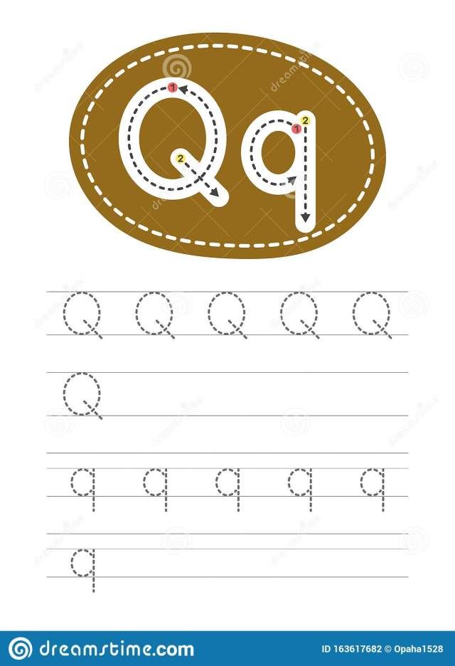 Write a letter Q and q stock vector. Illustration of hand - 18