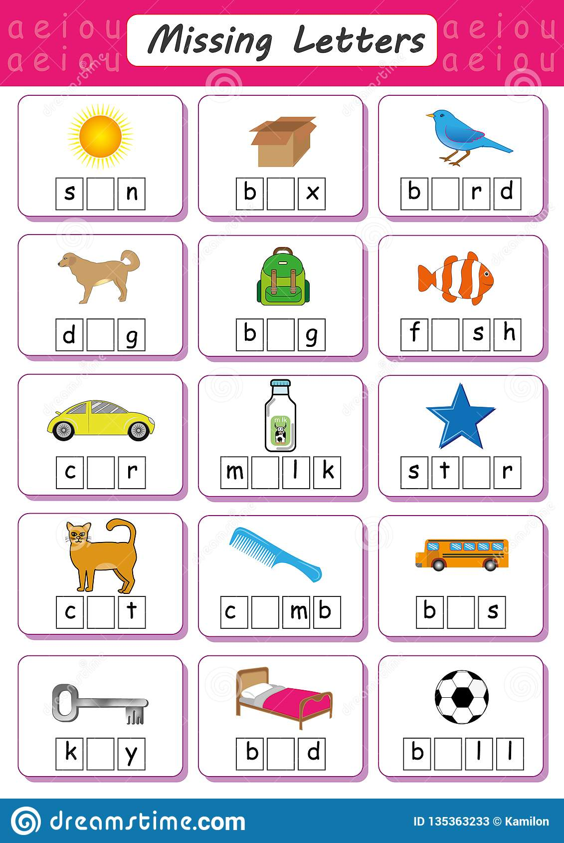 Write Missing Letter Write The Missing Vowel Worksheet