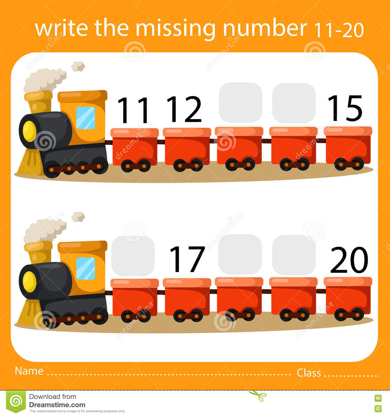 Write The Missing Number Eleven To Twenty On Train Stock
