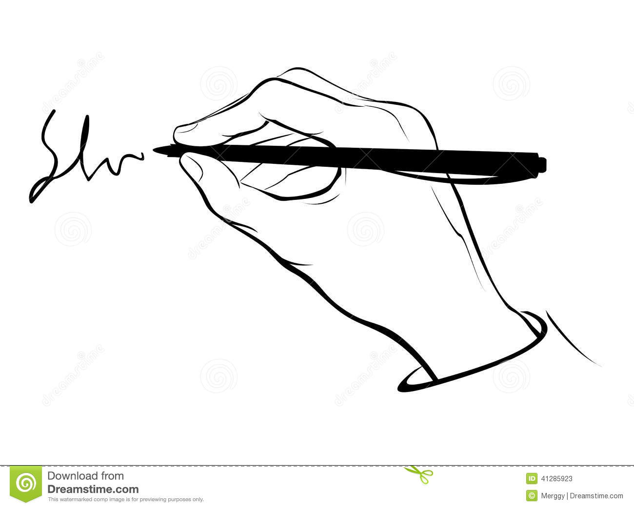 Writing hand outline stock vector. Illustration of