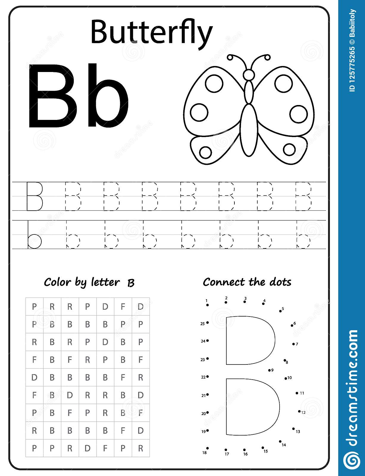 Writing Letter B Worksheet Writing A Z Alphabet Exercises Game For Kids Stock Vector