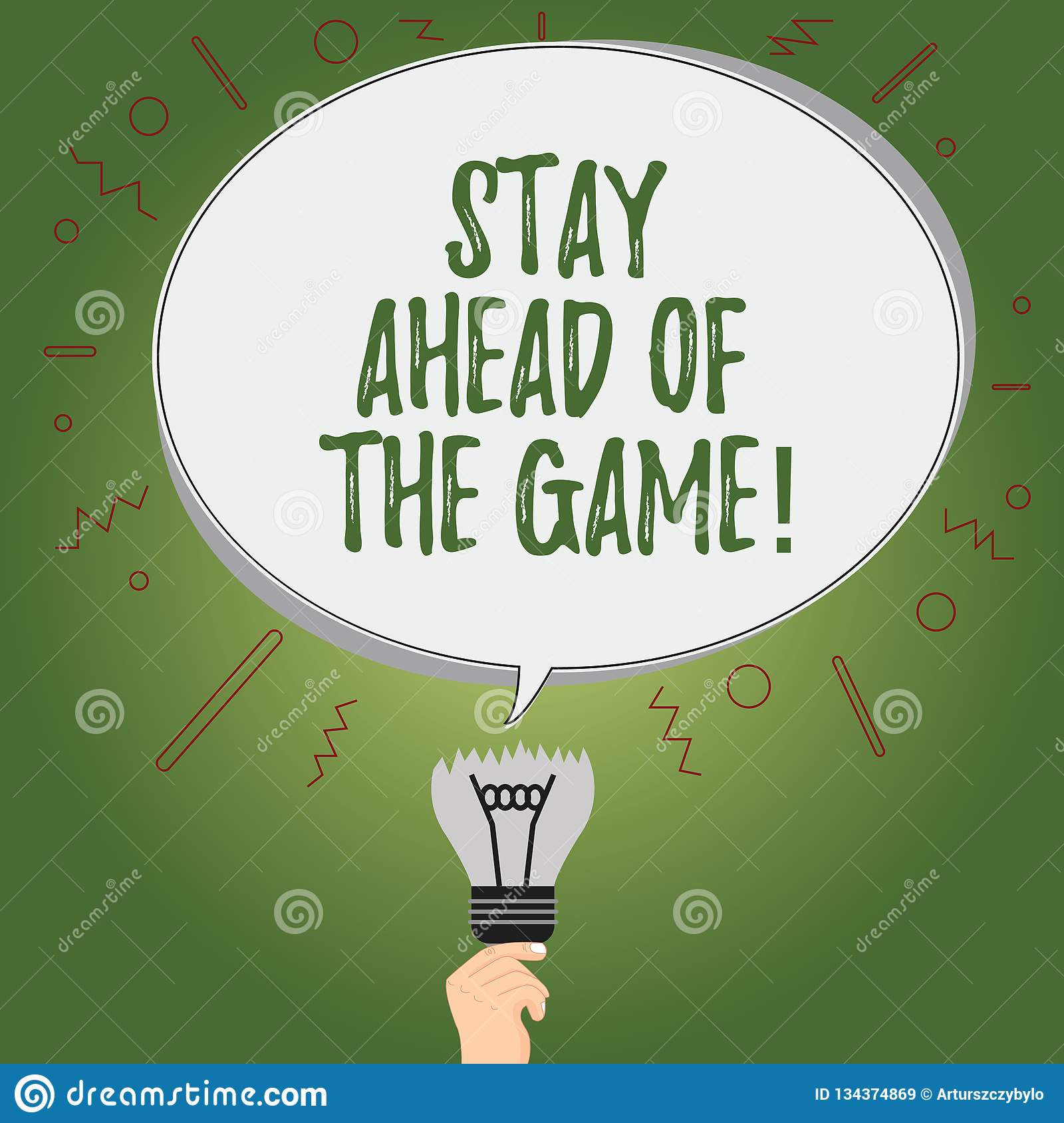 Writing Note Showing Stay Ahead Of The Game. Business Photo Showcasing Gaining Or Maintaining Advantage In A Situation Stock Illustration ...