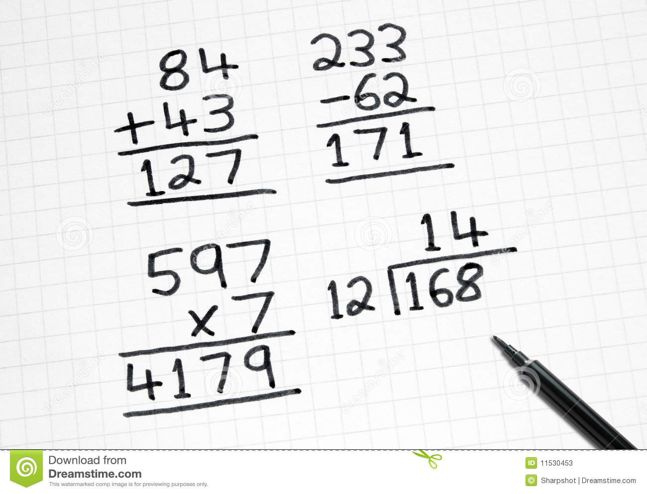 Writing Simple Maths Sums On Square Paper. Stock Image