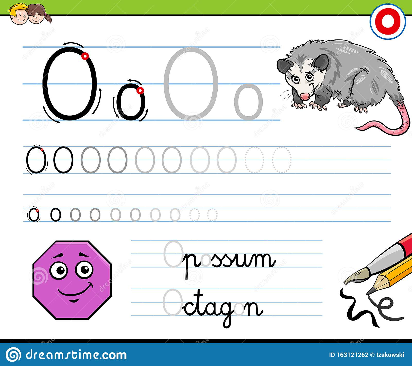 Writting Letter O Worksheet For Children Stock Vector