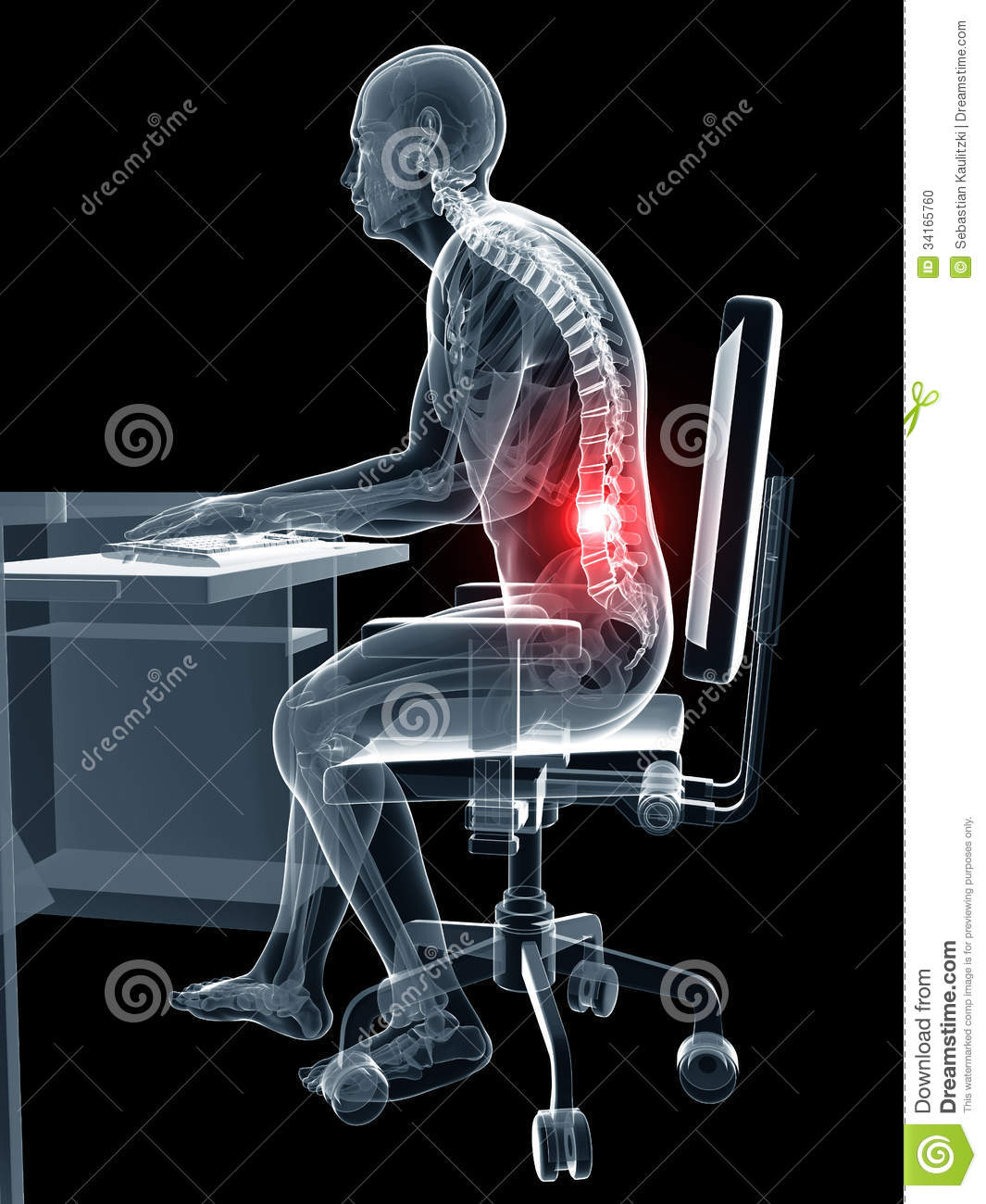 office chair posture standard height wrong sitting stock photo - image: 34165760