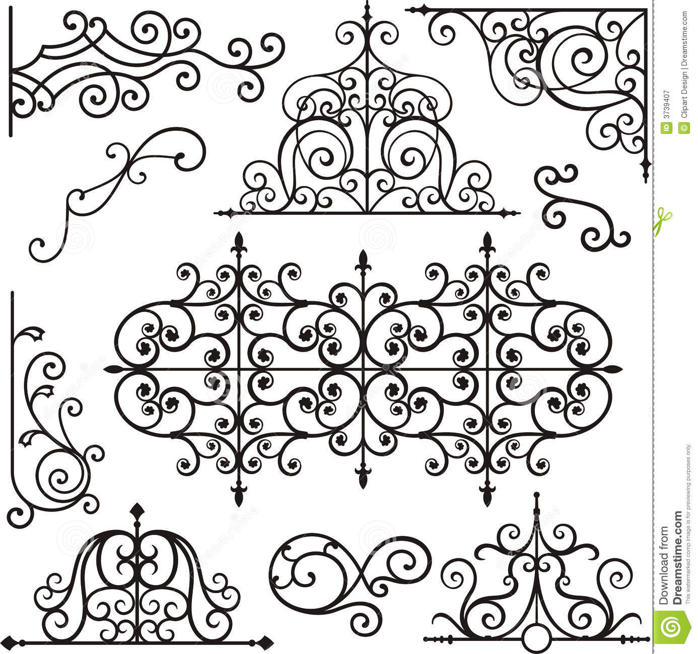 Wrough iron ornaments stock vector. Image of craft