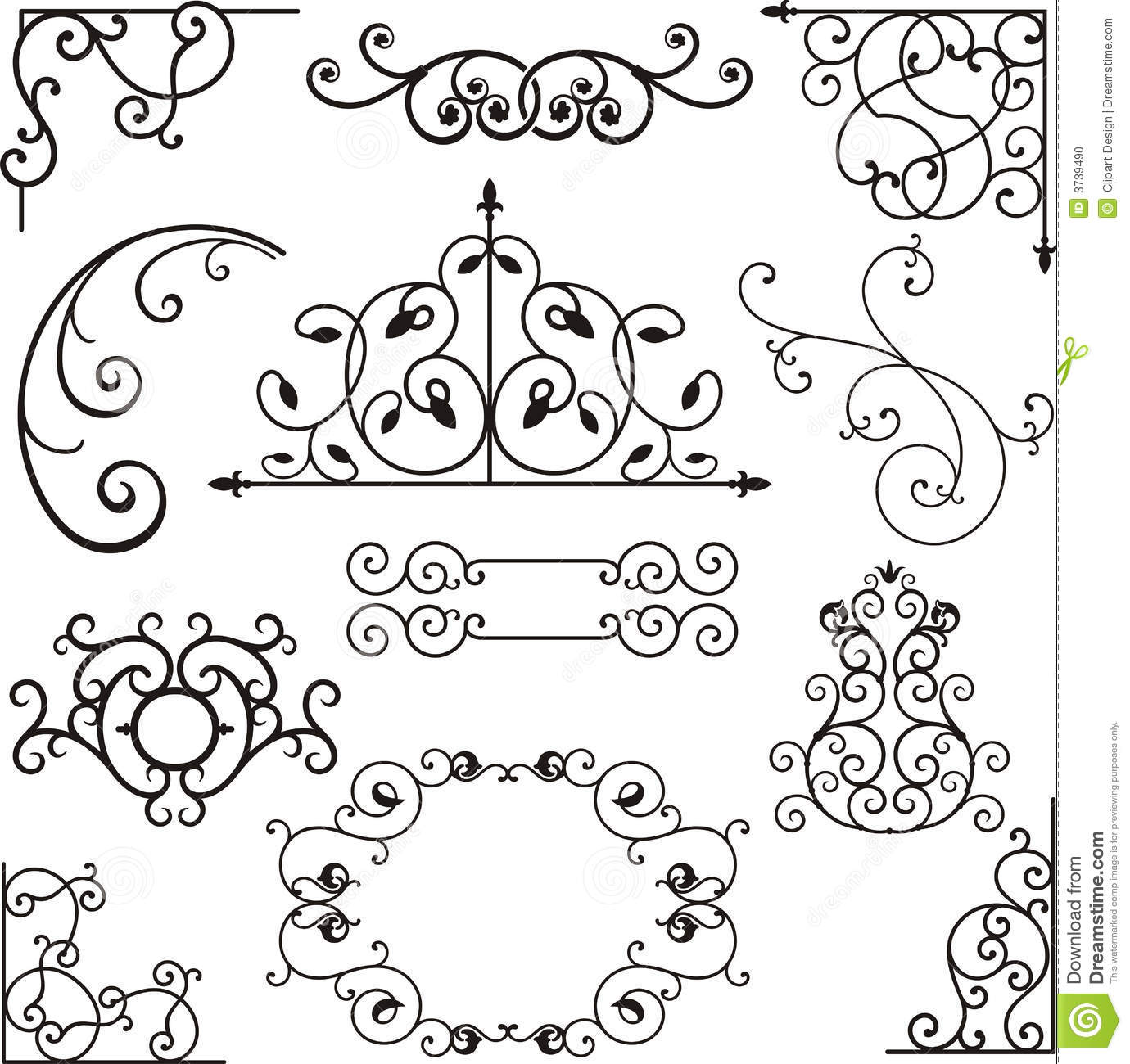 Wrough iron ornaments stock vector. Image of floral, fence