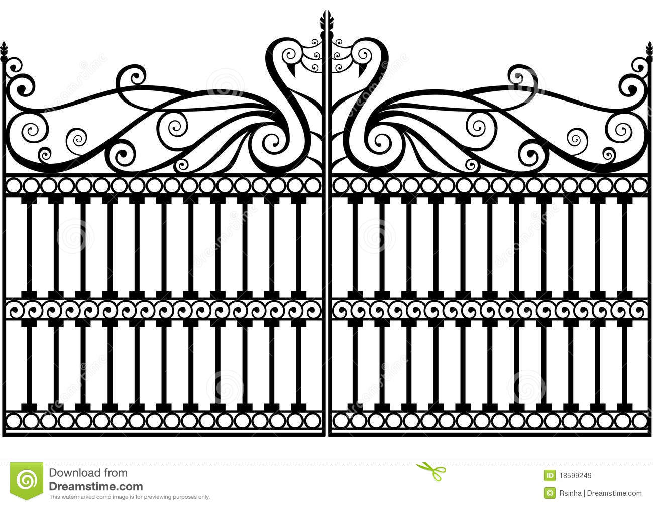 Wrought Iron Fence Or Gate Vector Eps Royalty Free Stock