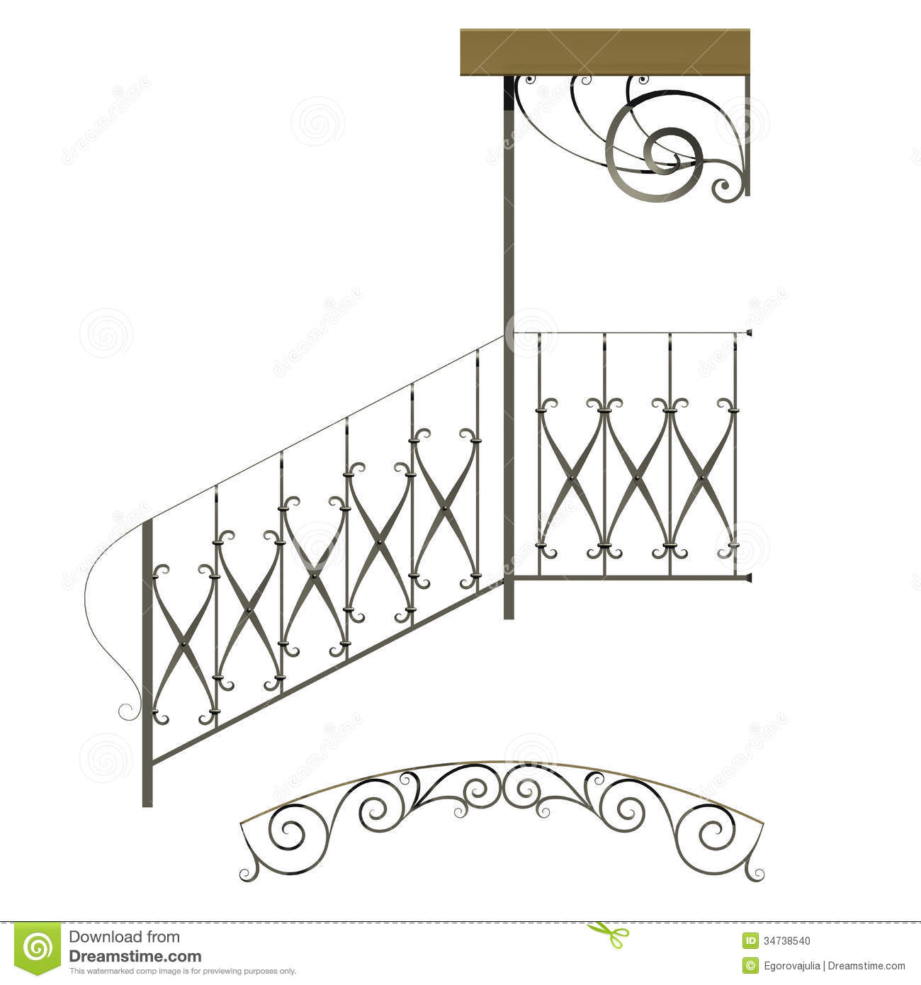 Wrought Iron Stairs Railing Stock Illustration