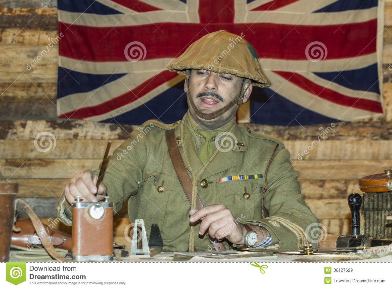 WWI British Army Officer At His Desk Editorial Stock Image