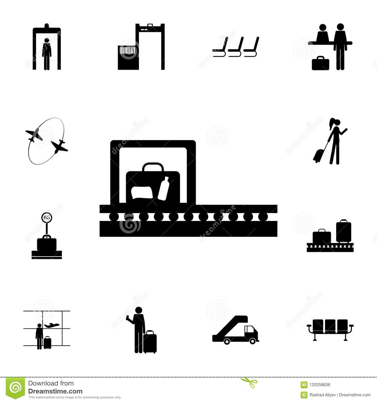 X Ray Baggage Check Icon Detailed Set Of Airport Icons