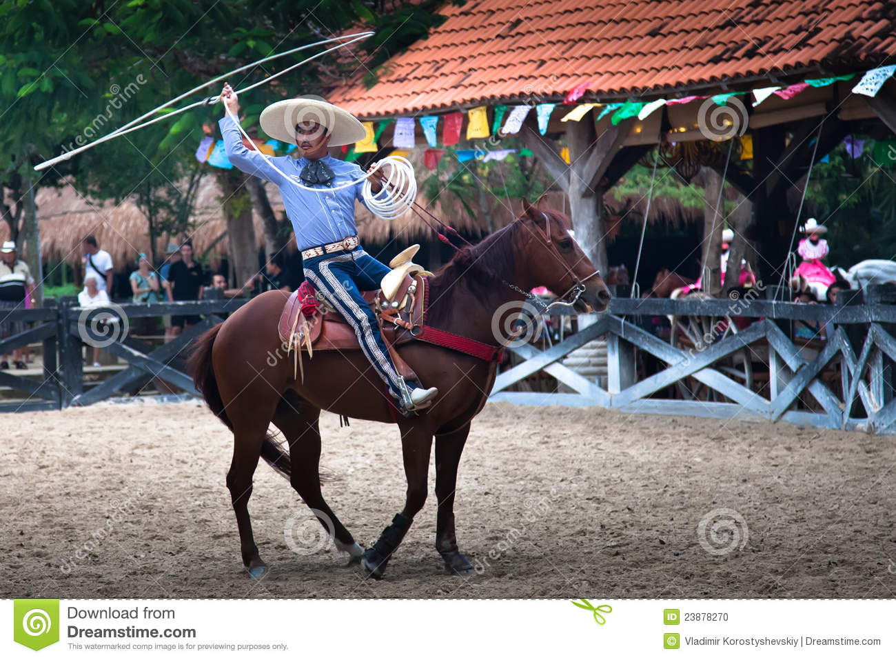 Xcaret Rodeo Show Performer Editorial Image - Image of riding. rope: 23878270