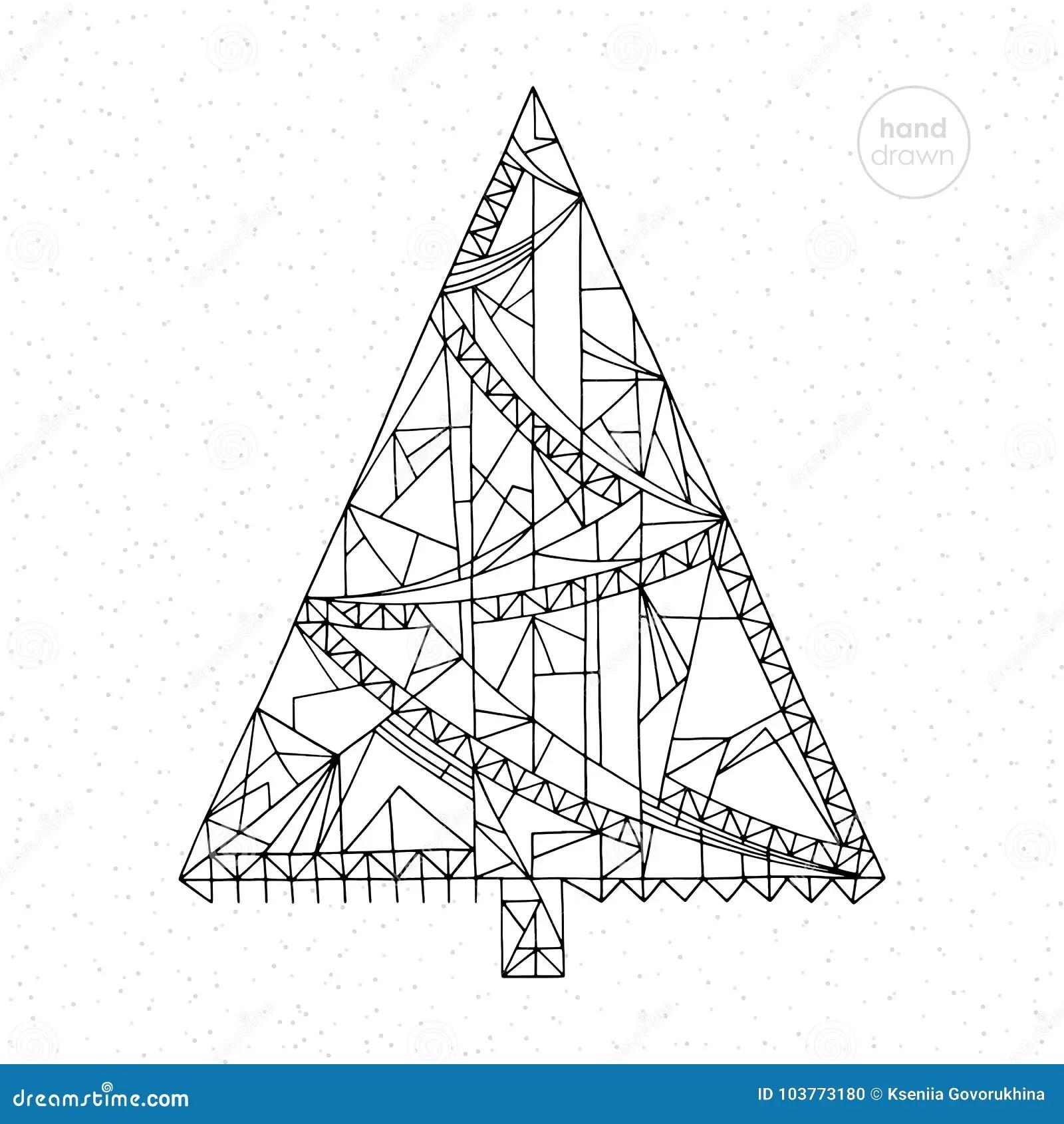 Xmas Tree Vector Illustration. Hand Drawn Abstract Winter