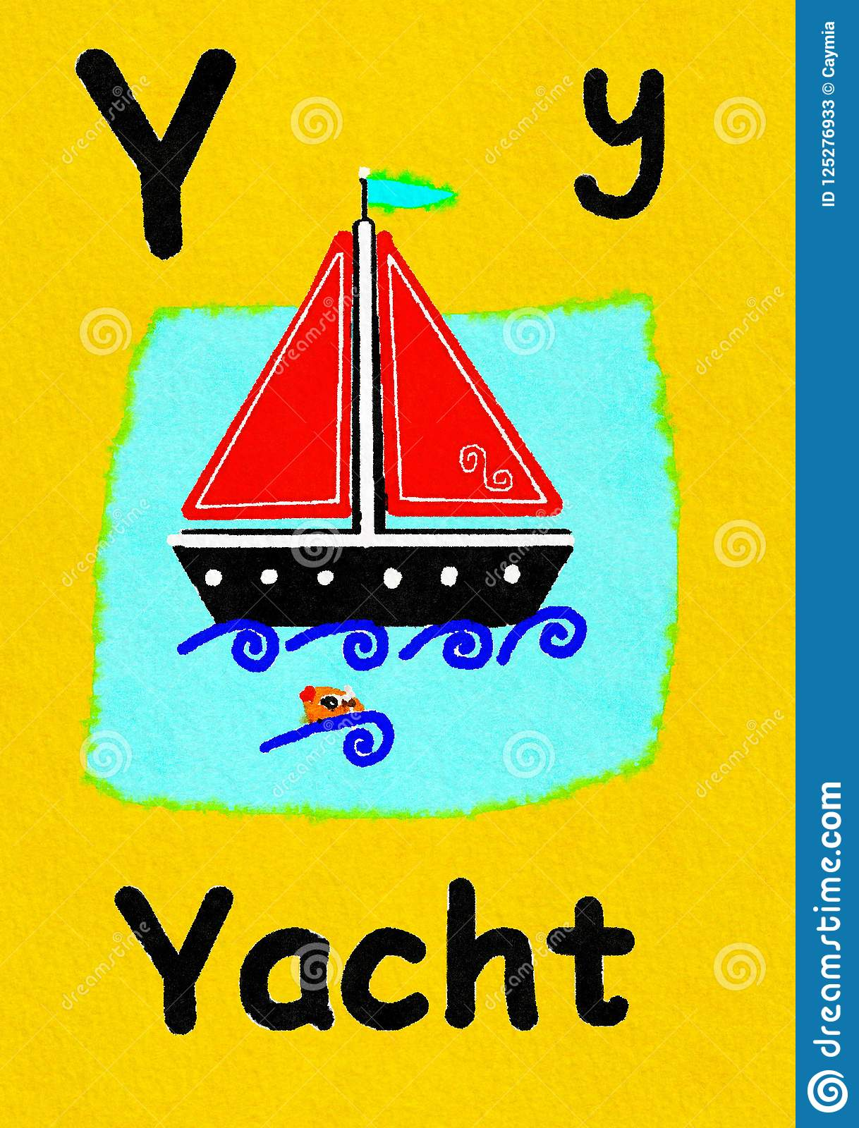 Y Is For Yacht Learn The Alphabet And Spelling Stock
