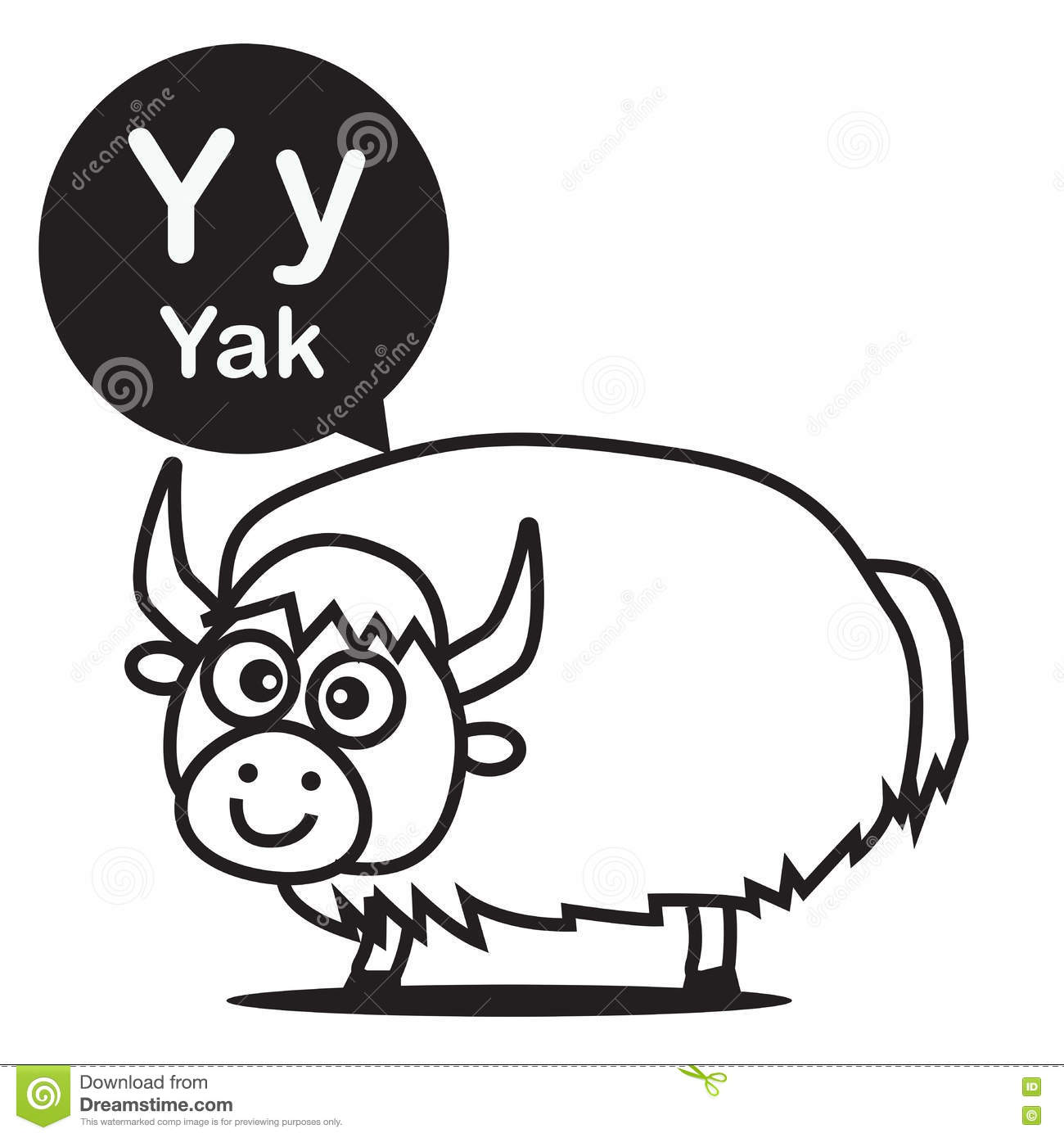 Animal Alphabet Y Yak Cartoon Vector