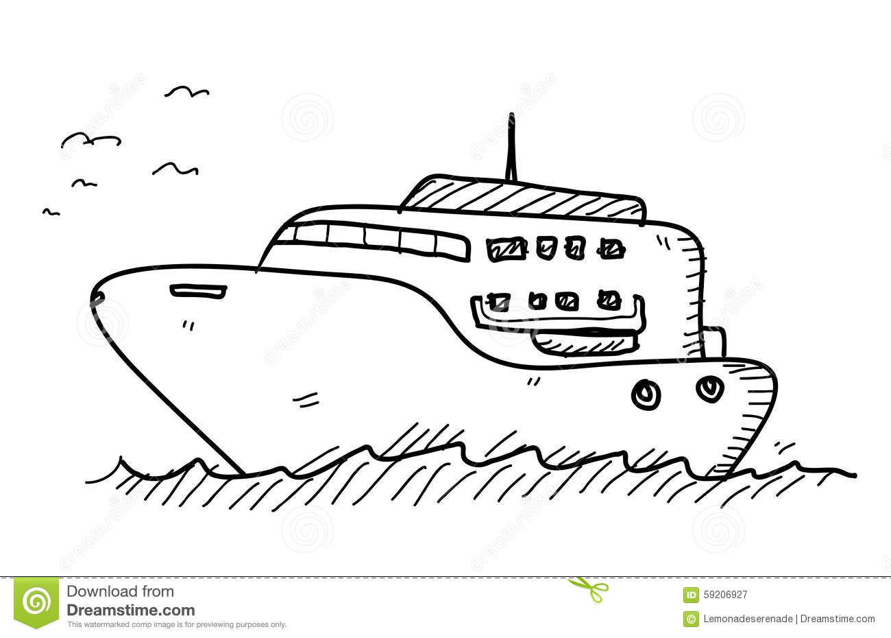 Yacht Doodle Stock Vector Illustration Of Cartoon Beach